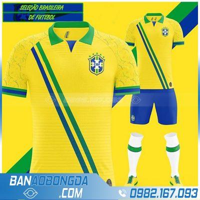 Áo đấu bóng đá Brazil màu vàng may theo yêu cầu