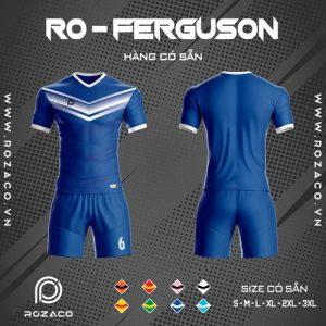 áo bóng đá không logo ro - ferguson màu xanh dương đẹp