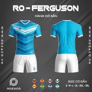 áo bóng đá không logo ro - ferguson màu xanh da trời