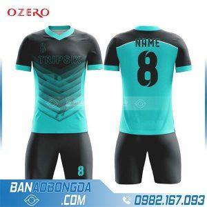 áo đá banh tự thiết kế HZ 203 màu xanh ngọc