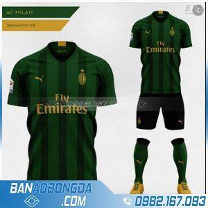 áo bóng đá ac milan tự chế hz 204 màu xanh rêu đẹp