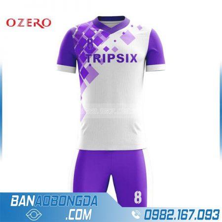 áo bóng đá không logo tự chế hz 205 màu trắng tím đẹp