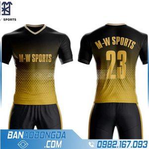 áo bóng đá tự chế màu vàng đen cổ tim hz 210