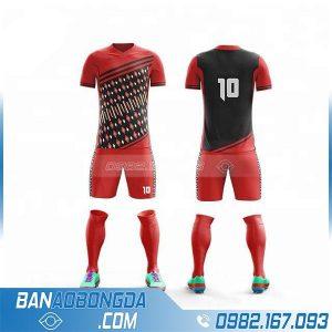 áo bóng đá không logo tự thiết kế màu đỏ HZ 221