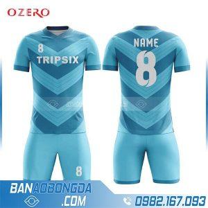 áo bóng đá không logo chế HZ 242 màu xanh da trời