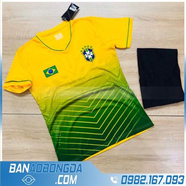 Áo bóng đá Brazil 2020 tự chế màu vàng đẹp