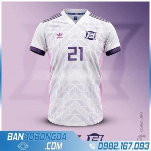 áo bóng đá may theo yêu cầu màu trắng