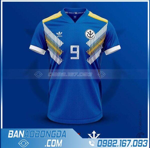 áo bóng đá thiết kế theo yêu cầu màu xanh dương đẹp