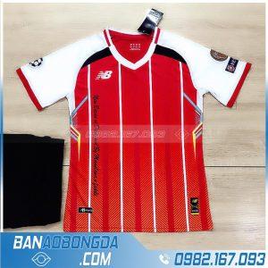 áo bóng đá không logo cổ tim HZ LM12 màu đỏ