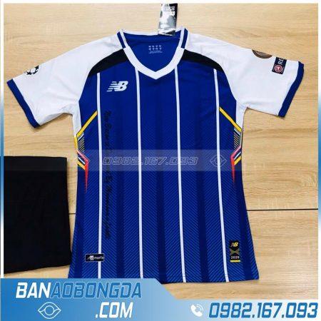 áo bóng đá không logo đơn giản HZ LM12 màu xanh dương