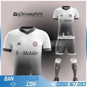 áo Bayern Munich 2021 tự thiết kế màu trắng