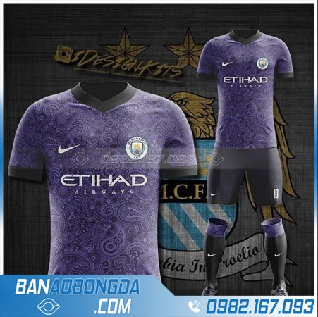 áo Man City 2021 tự thiết kế màu tím