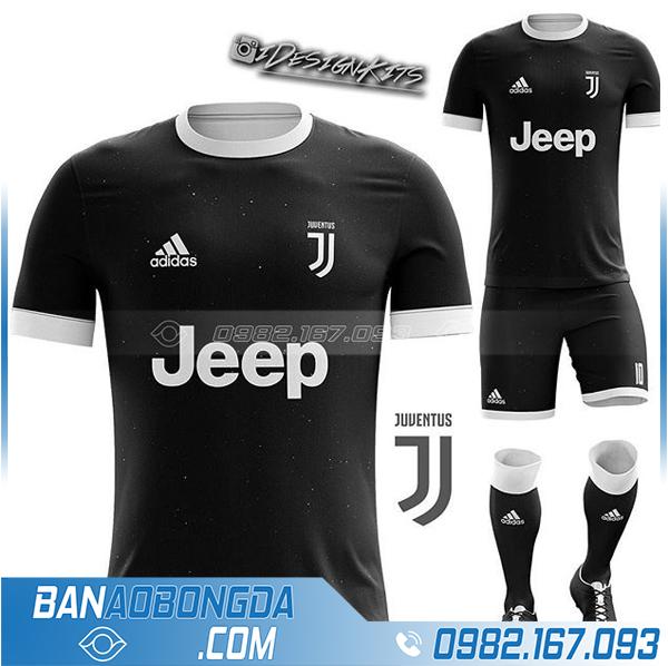 áo Juventus tự thiết kế HZ 372 màu đen