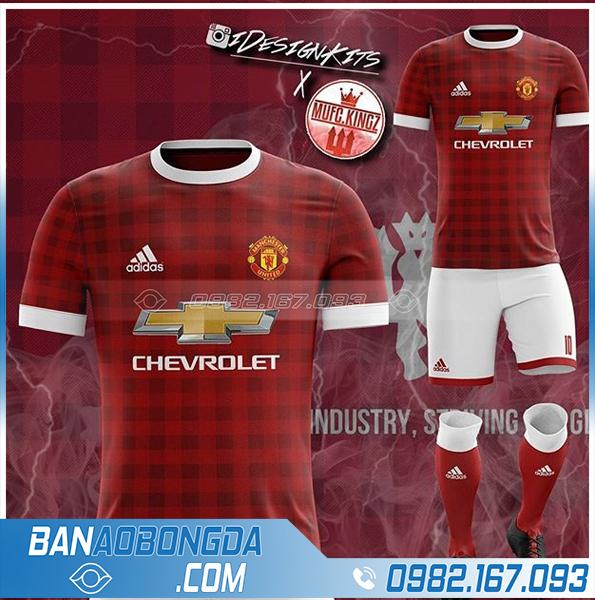 áo bóng đá MU tự thiết kế HZ 373 màu đỏ đô