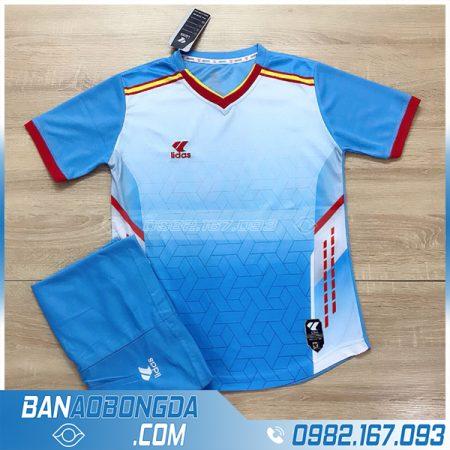 bộ quần áo bóng đá không logo LM13 màu xanh da trời