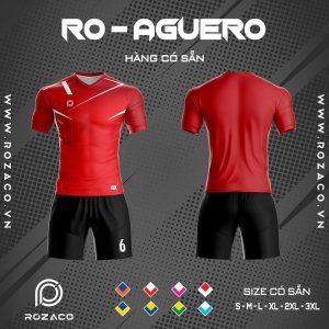 áo đá banh không logo Aguero màu đỏ
