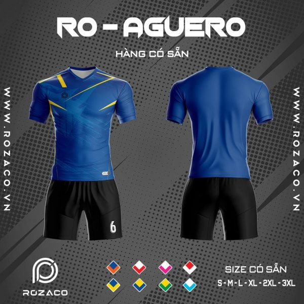 Áo bóng đá không logo Aguero màu xanh dương