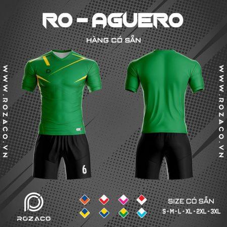 Áo bóng đá không logo 2020 Aguero màu xanh lá