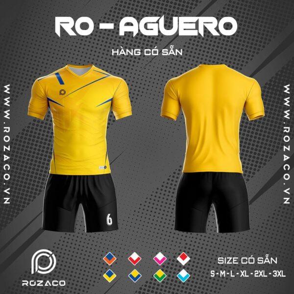 áo bóng đá không logo vải Thái Lan Aguero màu vàng