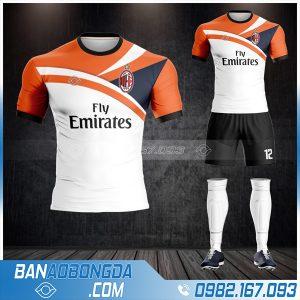 Áo bóng đá AC Milan training màu trắng cam