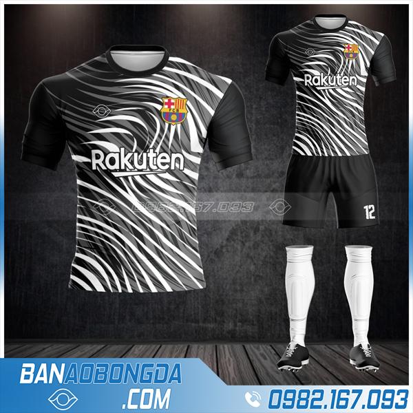 áo đấu Barcelona tự thiết kế HZ 411 màu đen đẹp