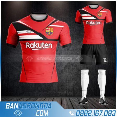 Áo bóng đá Barca tự chế màu đỏ HZ 412
