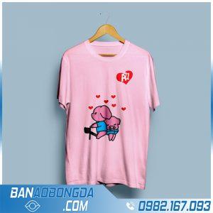 áo phông cổ tròn màu hồng đẹp cho lớp HZ 50