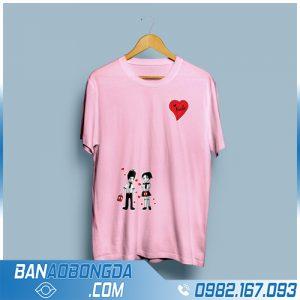 áo thun đồng phục HZ 54 màu hồng cực đẹp
