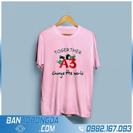 áo phông đồng phục cổ tròn màu hồng đẹp HZ 59