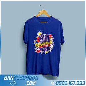 áo phông đồng phục màu xanh dương HZ 100