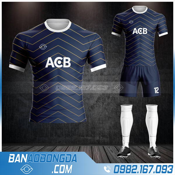 Áo đá bóng ngân ngàng ACB bank thiết kế HZ 598
