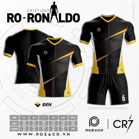 Áo Đá Bóng Không Logo Ronaldo Màu Đen Xịn