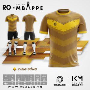 Áo Bóng Đá Không Logo Mới Mbappe Màu Vàng Đồng