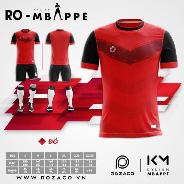 Áo đá bóng không logo chế Mbappe màu đỏ