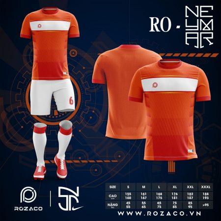 Áo bóng đá không logo tự thiết kế màu cam HZ 733