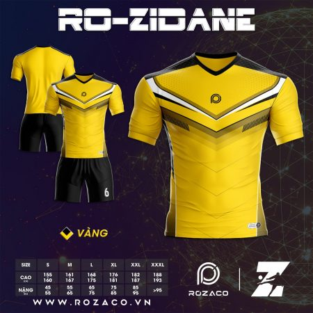 Quần áo bóng đá không logo chế màu vàng HZ 734