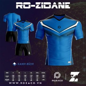 Áo đá bóng không logo thiết kế màu xanh dương HZ 735