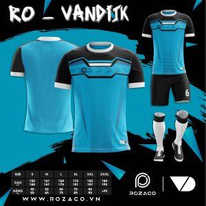 Quần áo bóng đá không logo chế màu xanh da trời HZ 739