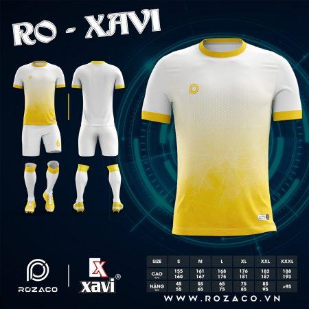 Quần áo bóng đá không logo màu trắng vàng HZ 750