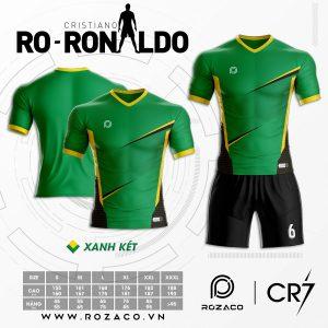 Bộ quần áo bóng đá không logo màu xanh lá HZ 769