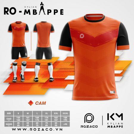 Áo bóng đá không logo thiết kế màu cam mới nhất HZ 757