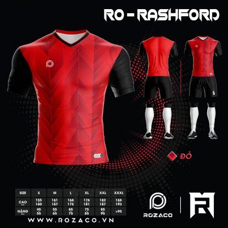 Bộ Quần Áo Bóng Đá Không Logo Màu Đỏ Rashford Đẹp