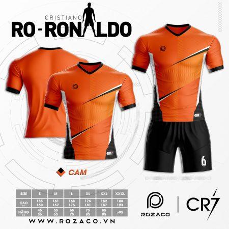 Áo Đá Bóng Không Logo Cao Cấp Màu Cam Ronaldo