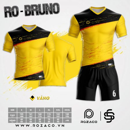 Mẫu Áo Bóng Đá Không Logo Bruno Màu Vàng Đẹp