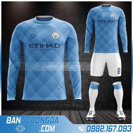 Áo bóng đá Man City dài tay màu xanh da trời