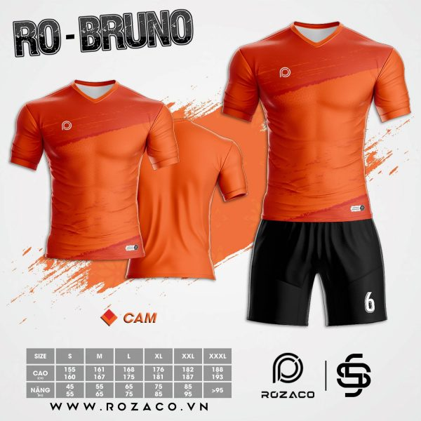 Mẫu áo bóng đá không logo màu cam đẹp