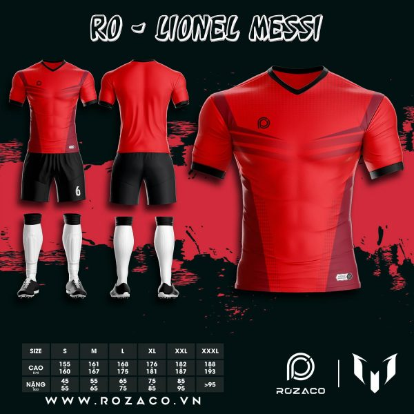 Mẫu Áo Đấu Bóng Đá Không Logo Màu Đỏ Đẹp Nhất Ro - Messi