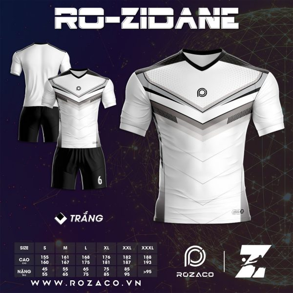 Bộ Quần Áo Đá Bóng K Logo Màu Trắng Zidane Rẻ Đẹp