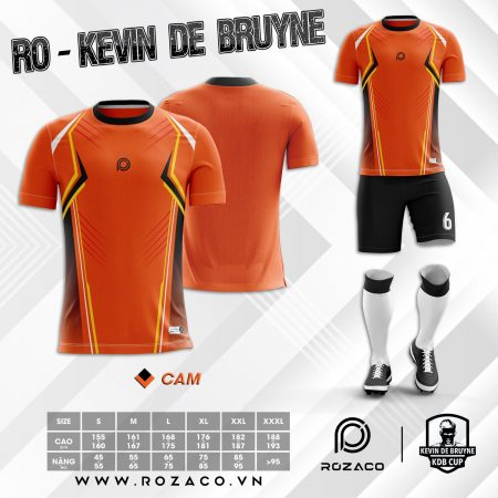 Áo đá bóng không logo cổ tròn đơn giản Bruyne màu cam