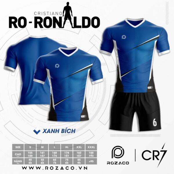 Áo Đá Banh Không Logo Ronaldo Màu Xanh Dương Mới